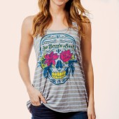 Women's Sugar Skull Striped Tank- Front