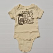 ZBB Warm Milk On a Friday Night-Baby Onesie, White w/ Brown Text